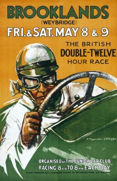A poster for the British equivalent of the Le Mans 24- hour race, the Brooklands 'Double-twelve hour race&#39