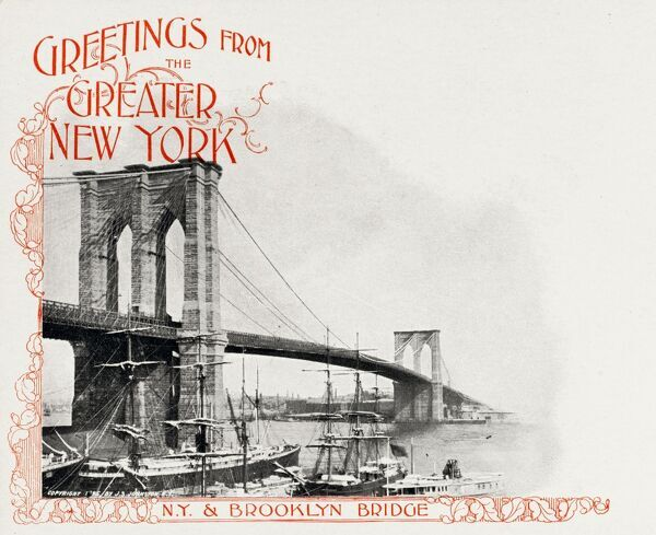 Brooklyn Bridge, New York postcard with Greetings from the Greater New York
