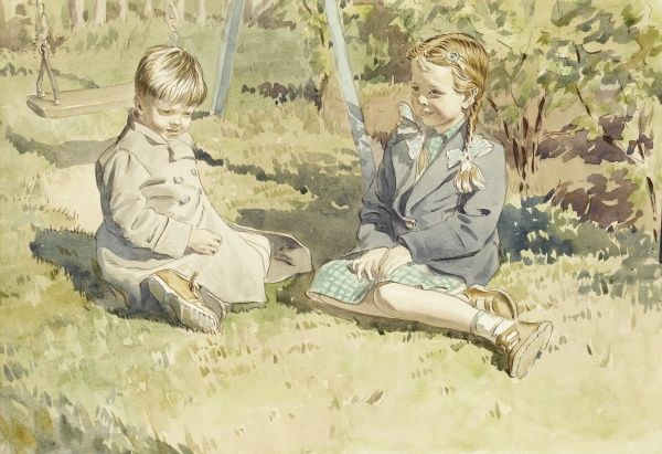 Brother and sister sitting in their garden, close to a swing. Watercolour painting by Raymond Sheppard