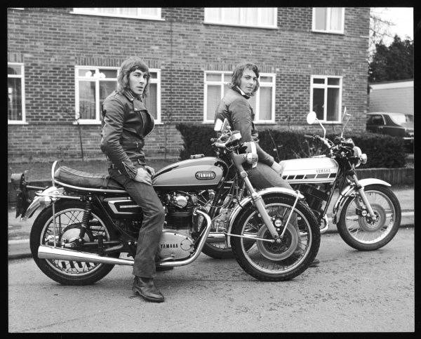Two young men (brothers Colin and Kevin Boxall, sons of the photographer), on their Yamaha motorbikes