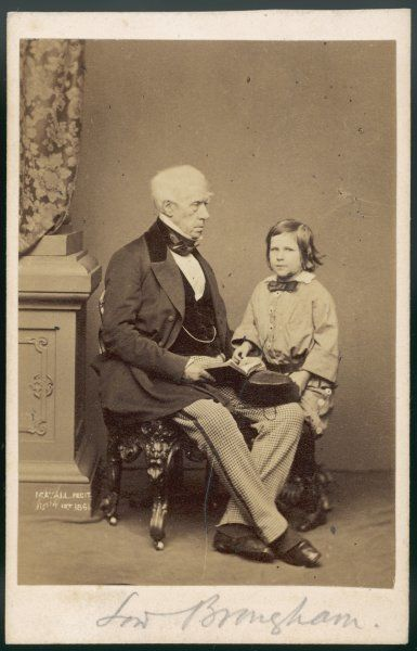 HENRY, 1ST BARON BROUGHAM British MP and lawyer in 1861, with an unidentified small boy