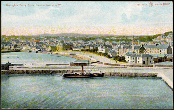 The harbour seen from the Castle ; a neat little steamer is moored at the quay. Date: circa 1900