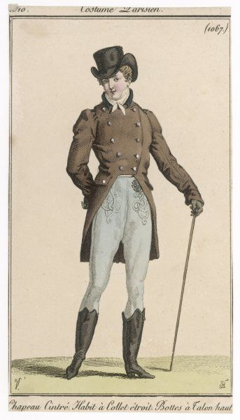 Top hat with turned up brim, brown cut-away double- breasted coat with hip pockets & gathered shoulders, blue pantaloons with soutache trim, hessian boots with high heels. Date: 1810