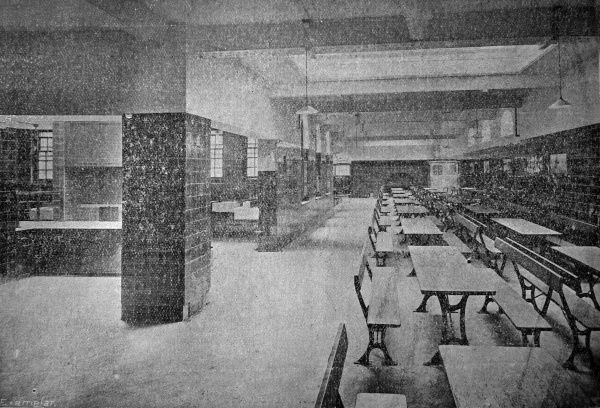 The dining-hall at Bruce House - a model lodging house opened by the London County Council in 1906 at Kemble Street London WC2. Date: 1906