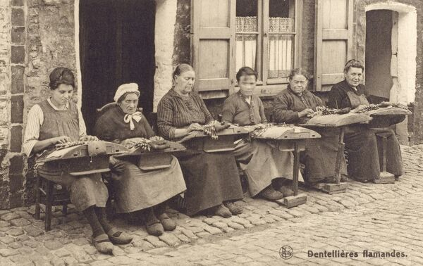 Lacemaking at Bruges, Belgium Date: circa 1910s