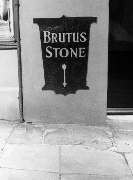 The Brutus Stone, 51 Fore Street, Devon, England. According to medieval mythology, Totnes is where the defeated Trojans settled, led by their Prince, Brutus. Date: circa 1170 BC