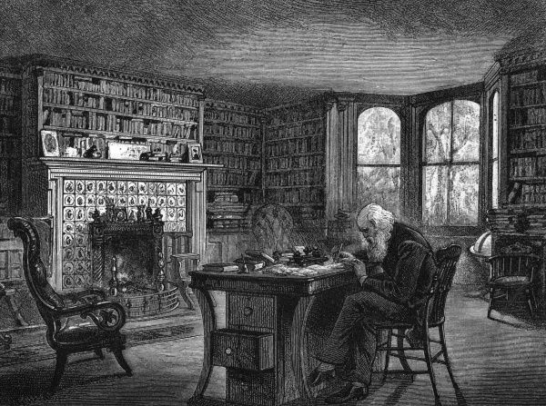 William Cullen Bryant - in his library at Cedarmere. Date: 1900
