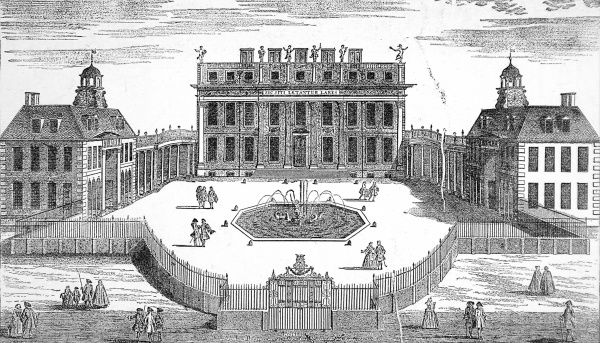 Engraving showing the exterior of Buckingham House in St. James's Park, London, in 1705. Buckingham House later, after much modification, extension and a change of ownership, became Buckingham Palace