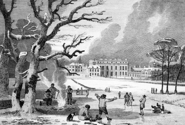 Buckingham House (not yet called The Palace) the residence of Queen Charlotte : seen in winter from St James's Park', where skaters and sliders are enjoying the ice Date: 1810