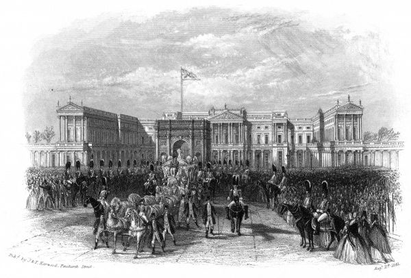 A view of the front of Buckingham Palace, with a large crowd watching the departure of the Royal coach. Date: August 11th 1841