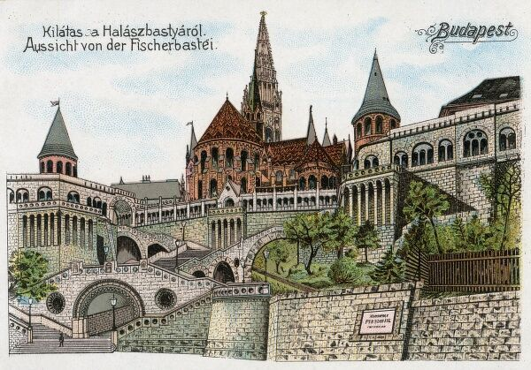The Halaszbastya or Fisherman's Bastion. A terrace in neo-Gothic and neo-Romanesque style on the Buda bank of the Danube (on the Castle hill), Budapest, around Matthias Church. Designed by Frigyes Schulek and built between 1895 and 1902