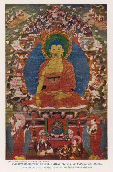 SIDDHARTHA GAUTAMA, known as the BUDDHA ('Enlightened One') Eighteenth century Tibetan temple painting, depicting the Buddha enthroned