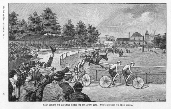 William Frederick 'Buffalo Bill' Cody (1846-1917), American soldier, bison hunter and Wild West showman, seen here at Munich,Germany, racing on horseback against the cyclist Fischer