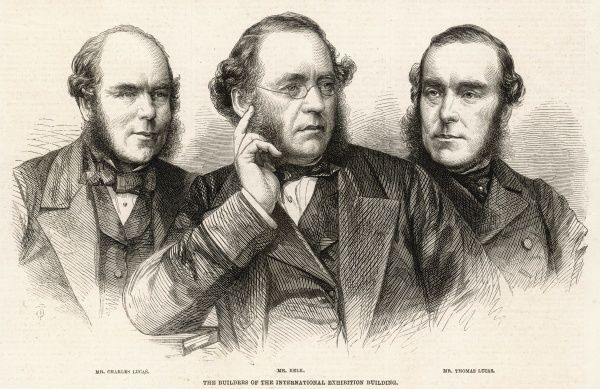 (From left to right) Mr. Charles Lucas, Mr John Kelk(later knighted)and Mr. Thomas Lucas, joint contactors in the erection of the 1862 International exhibition building