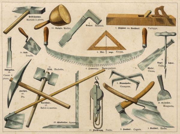 Various building and masonry tools, including a saw, a mallet, chisels, hatchets, a trowel and a hammer