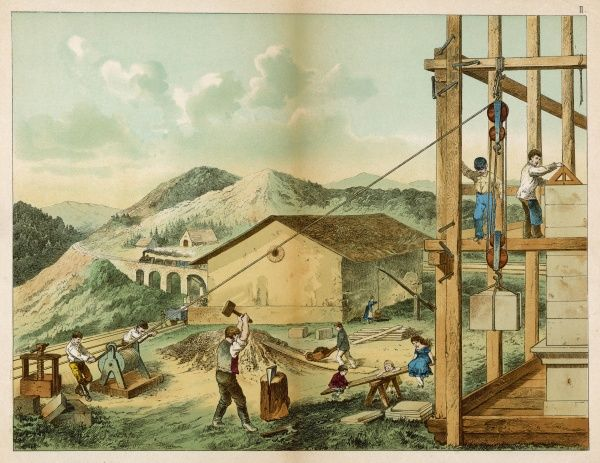 Men build a house while two children play on a seesaw