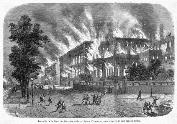 On the evening of 23 May, many government buildings are deliberately fired by the Communards as they face defeat