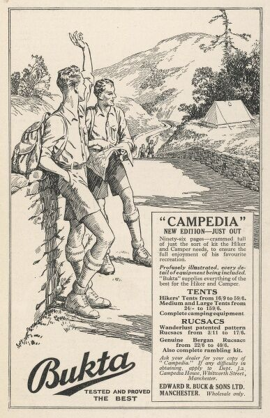 Advertisement for Bukta's rucsacs - the new edition Campedia - just out!