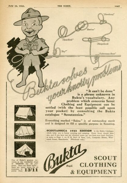 Advertisement for Bukta, publisher of the Scoutannica catalogue featuring all conceivable clothing and equipment needed to be a fully fledged boy scout including tents,ropes and goodness knows what else
