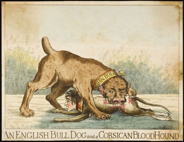 'AN ENGLISH BULL-DOG and a CORSICAN BLOODHOUND' John Bull savages his enemy