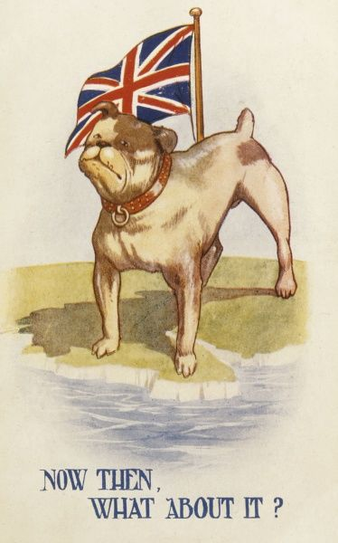 'Now then, what about it ?' Standing beside the Union Jack, a British bulldog defies the enemy, Date: 1915