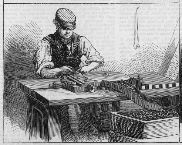 The manufacture of bullets for the Ashantee expedition, at Woolwich Arsenal, London 3 of 4 Date: circa 1865