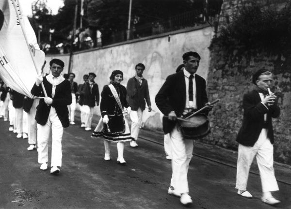 Procession to a bull fight, Spain. Date: 1930s