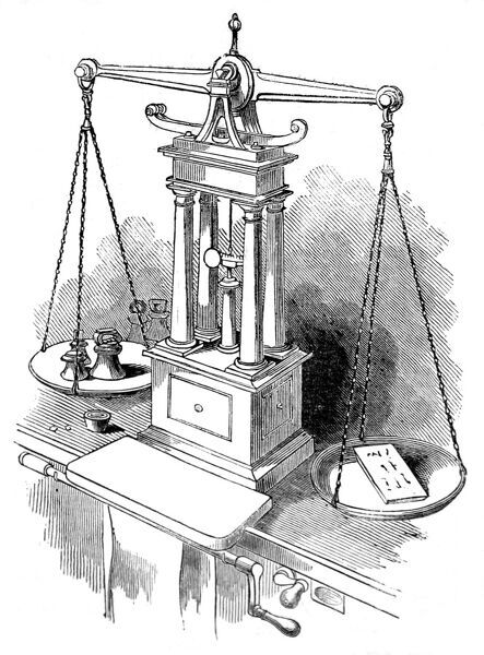 Engraving of a heavy duty set of weighing scales with central pillars for weighing bars of gold. A bar of gold is on one side of the balances, the weights on the other. The balance was invented by Sir John Barton in 1820 for weighing gold coin