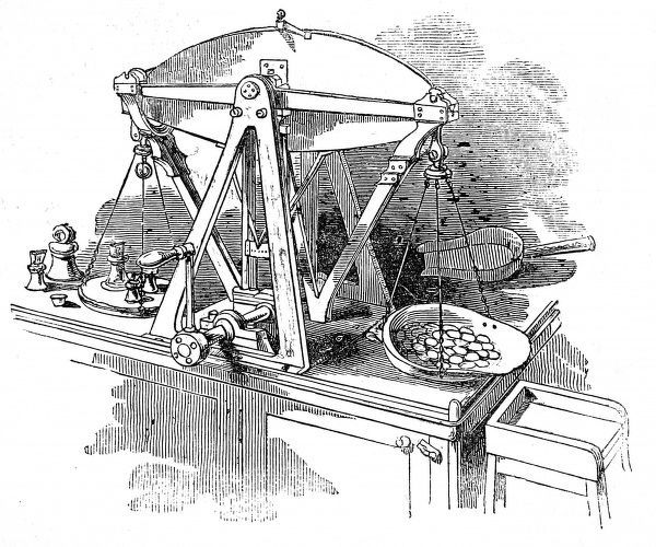 Engraving of weighing scales invented by Mr Bate for weighing dollars not exceeding 72 lbs 2 oz troy