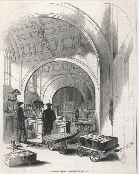 Engraving of the office in the Bank of England where deposits in gold or silver can be made