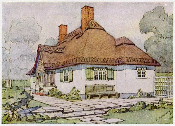 Projection drawing showing the design for a bungalow at Esher seen from the garden