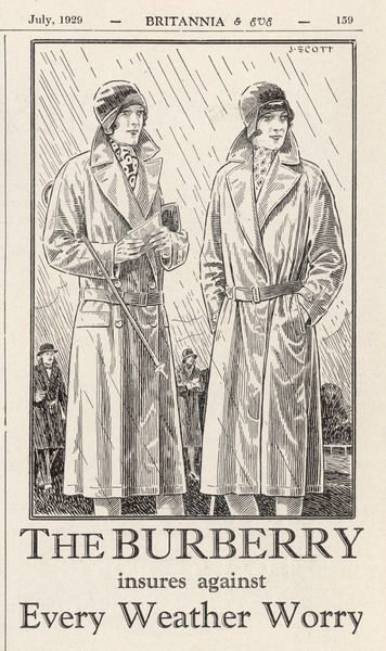 Two sensible ladies are protected from the unpredictable British weather in their Burberry weatherproof overcoats with stylish long lapels & low waistlines