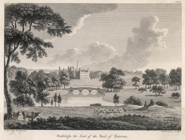Distant view of Burghley (or Burleigh) House, Cambridgeshire