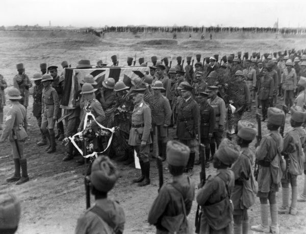Scene at the burial of Lieutenant General Sir Frederick Stanley Maude (1864-1917), Commander of the British troops wihich captured Baghdad during the First World War. He died from cholera later that year, and was buried in the North Gate War Cemetery