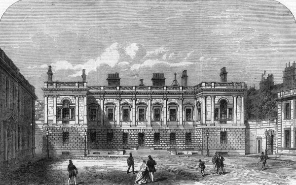 Engraving showing the exterior of Burlington House, Piccadilly, London in 1866. Burlington House is the home of the Royal Academy of Arts. Date: 15 September 1866
