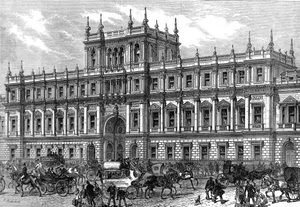 Engraving showing the front of Burlington House, Piccadilly, London in May 1873