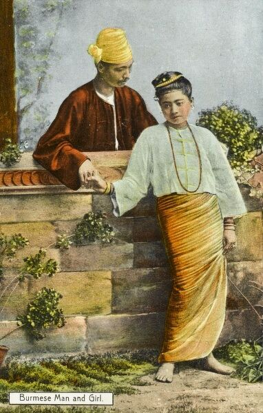 Burma (Myanmar) - Traditional Costume (3/4) A Burmese man and his girl, with whom he converses over a low stone wall, whilst holding onto her hand. She is wearing a very strikingm orange wrap-around skirt