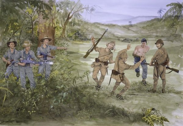 Chindit Brown of the King's Own Regiment (nicknamed 'Digger') in action in Burma. Painting by Malcolm Greensmith