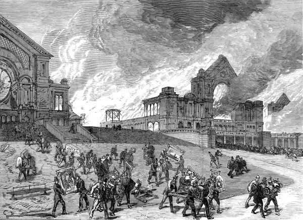 Engraving showing the destruction, by fire, of the Alexandra Palace, viewed from the South-West, in 1873. In the foreground a large number of people can be seen removing paintings and other items to preserve them from destruction