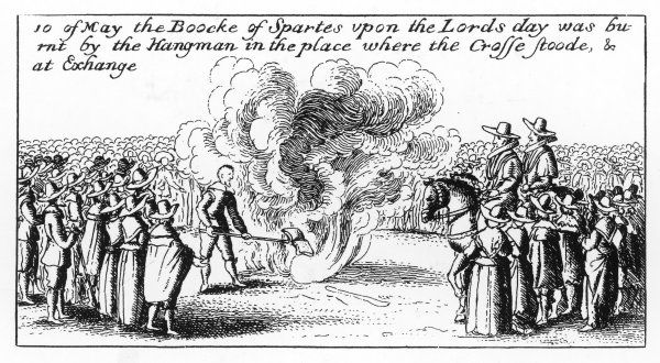 The public hangman burns 'The Booke of Sportes upon the Lords Day' at St Paul's Cross, and this is repeated at the Royal Exchange : London is inclined to Puritanism now