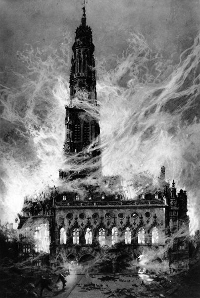 Illustration by P.Leven and Lemonier showing the 15th century belfry tower of the Arras town hall in flames after being bombarded by German shells in October 1914