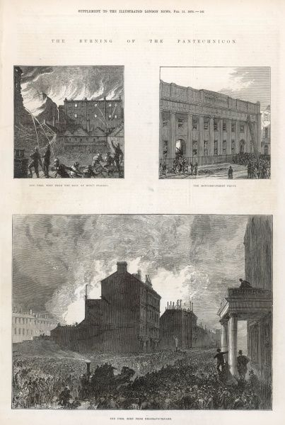 The burning of the Pantechnicon in Motcomb Street, Belgravia: scenes of the fire which devastated the building
