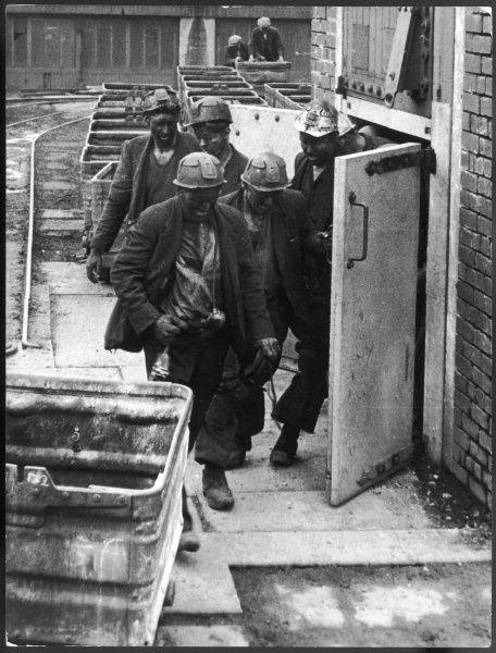 Miners coming off their shift, at Cape Bank Hall Pit, in Burnley, Lancashire