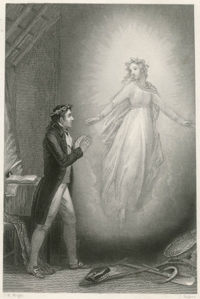 A poet (Robert Burns, garlanded with a laurel wreath) is visited by his muse