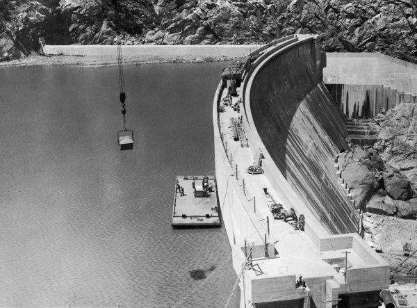 BURRINJUCK DAM This dam which is 92 metres high was built between the Wars on the Murrumbidgee River, near Yass, New South Wales, Australia