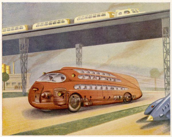 A bus of the future races along an autobahn carrying two decks of passengers : a modern train crosses overhead