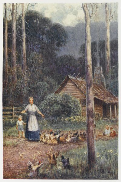 Outside her bush hut, a settler's wife feeds her poultry