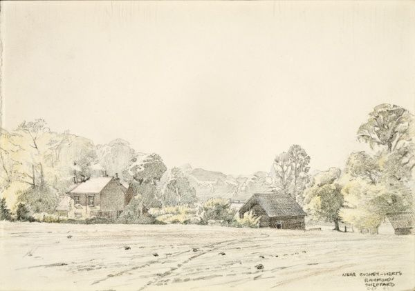 View over the fields toward a cottage and outbuildings near Bushey, Hertfordshire. Watercolour painting by Raymond Sheppard