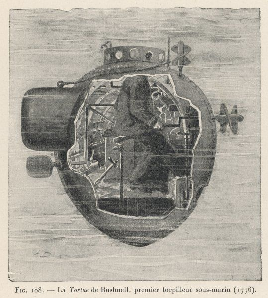 BUSHNELL'S 'TURTLE' the first submersible craft to be used in action, attacking a British ship at New York on 7 September 1776 ;the one-man crew provided the power manually !