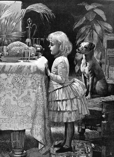 Young girl stands by a Christmas dinner table staring at a roast turkey